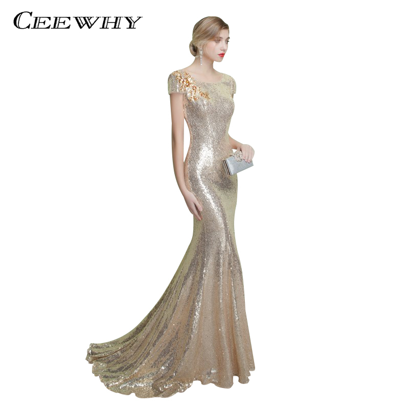 CEEWHY Short Sleeve Sequined Mermaid Gown   Evening     Dress   Long Party Elegant Vestido De Festa Backless Prom   Dress   Court Train