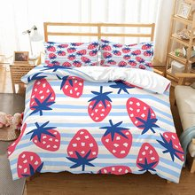 3 Piece+2 Pillowcase Cartoon Strawberries Bedding Set Kid 3D Pink/Blue Strawberries Bedspread White/Blue Stripes Duvet Cover Set(China)