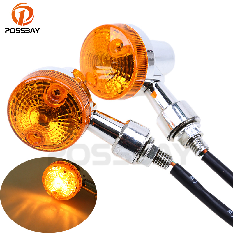 POSSBAY Motorcycle Lights Turn Signal Light Motorbike Indicators Lamp Flasher Amber Lamp For Honda Harley Scooter Rear Light