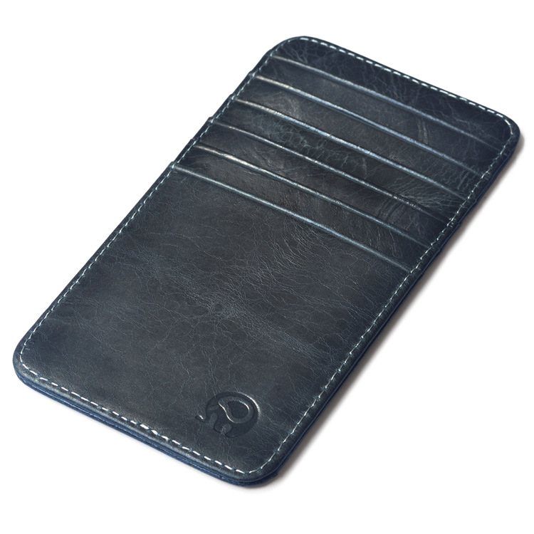 slim 100% Genuine Leather 12 Card Slots Business Card Holders Long ...