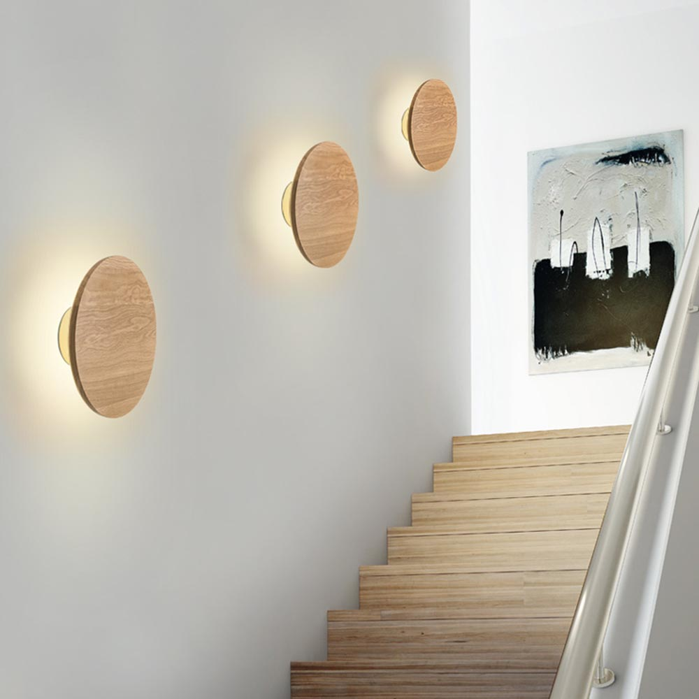 Modern Nordic Wood Eclipse LED Wall Lamp Sconce Light Home Porch Bedroom Bedside Wall Lamp Lighting Fixture Wall Art Home Decor modern nordic solid wood led rotated wall lamp bedside night light bedroom living room aisle sconce light fixture wall decor art