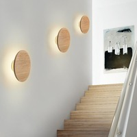 Modern Nordic Wood Eclipse LED Wall Lamp Sconce Light Home Porch Bedroom Bedside Wall Lamp Lighting Fixture Wall Art Home Decor