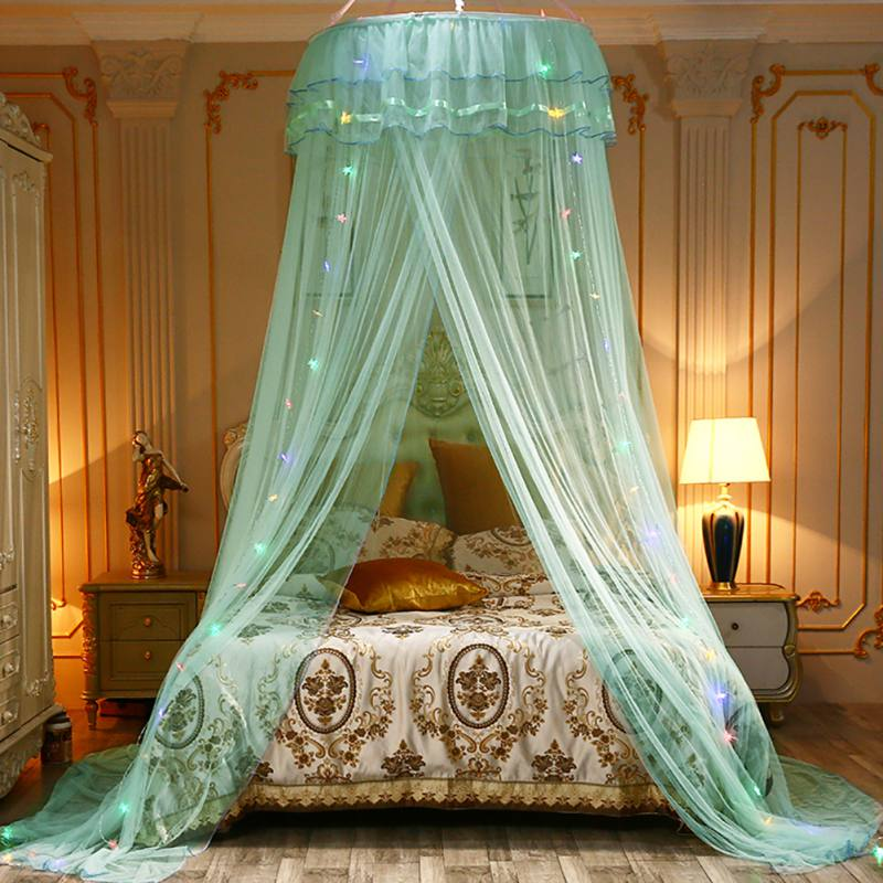 Dyna-living Round Dome Mosquito Net Princess Bed Hanging Curtain Baby Indoor Outdoor Reading Play Beach Tent for Bedroom Decoration Net Protection Bed Canopy for Children Blue