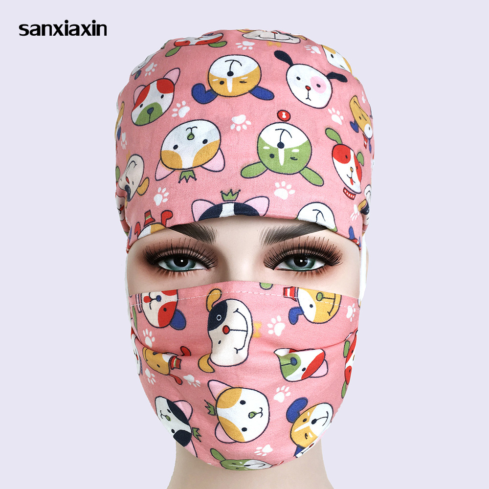 Unisex Pharmacy Scrub Cap Nurse Doctor Surgical Hospital Adjustable Medical Surgery Caps Scrub Lab Clinic Dental Operation Hat 8