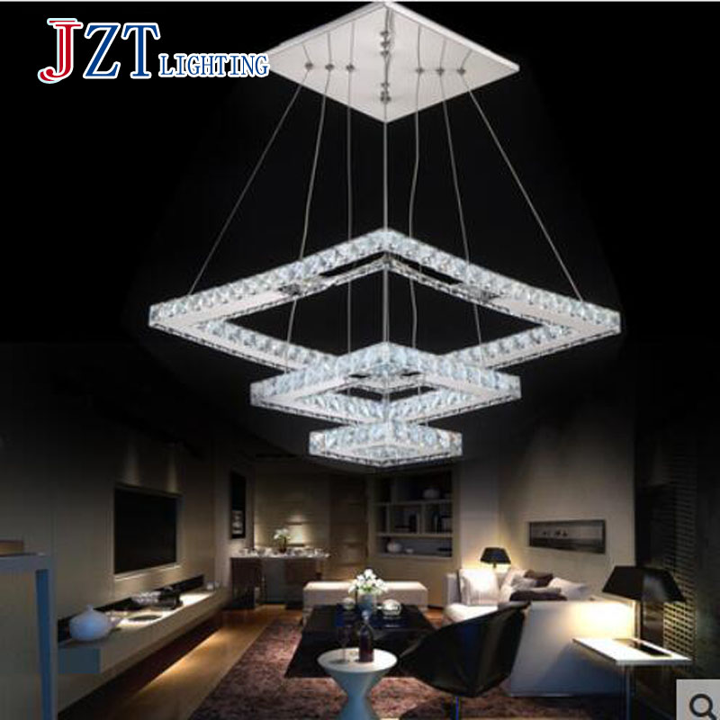 T 3 Rectangular Ring Crystal Luxury Pendant Light Fashion Modern Creative Lamps For Dining Room Led Chip 60W DHL FREE