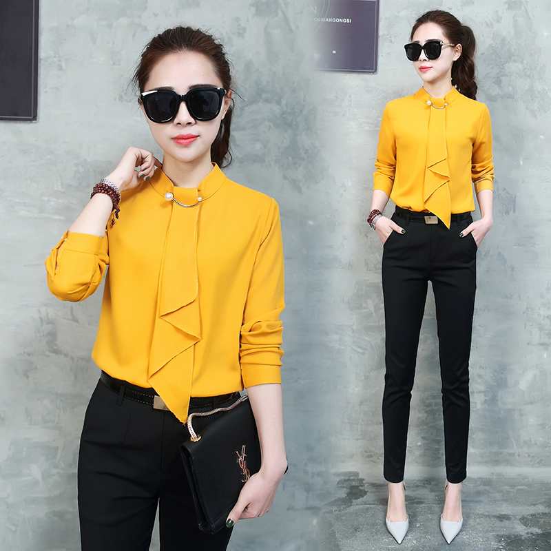 New 2017 Women's Set 2 Piece Women Two Piece Set Autumn Crop Top Chiffon Shirt and Pencil Pant Set OL Office Work Clothes Suit