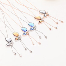 Fashion Butterfly Necklaces & Pendants Gold Silver Plated Tassel Long Pendant Crystal Rhinestones Necklace For Women Jewelry