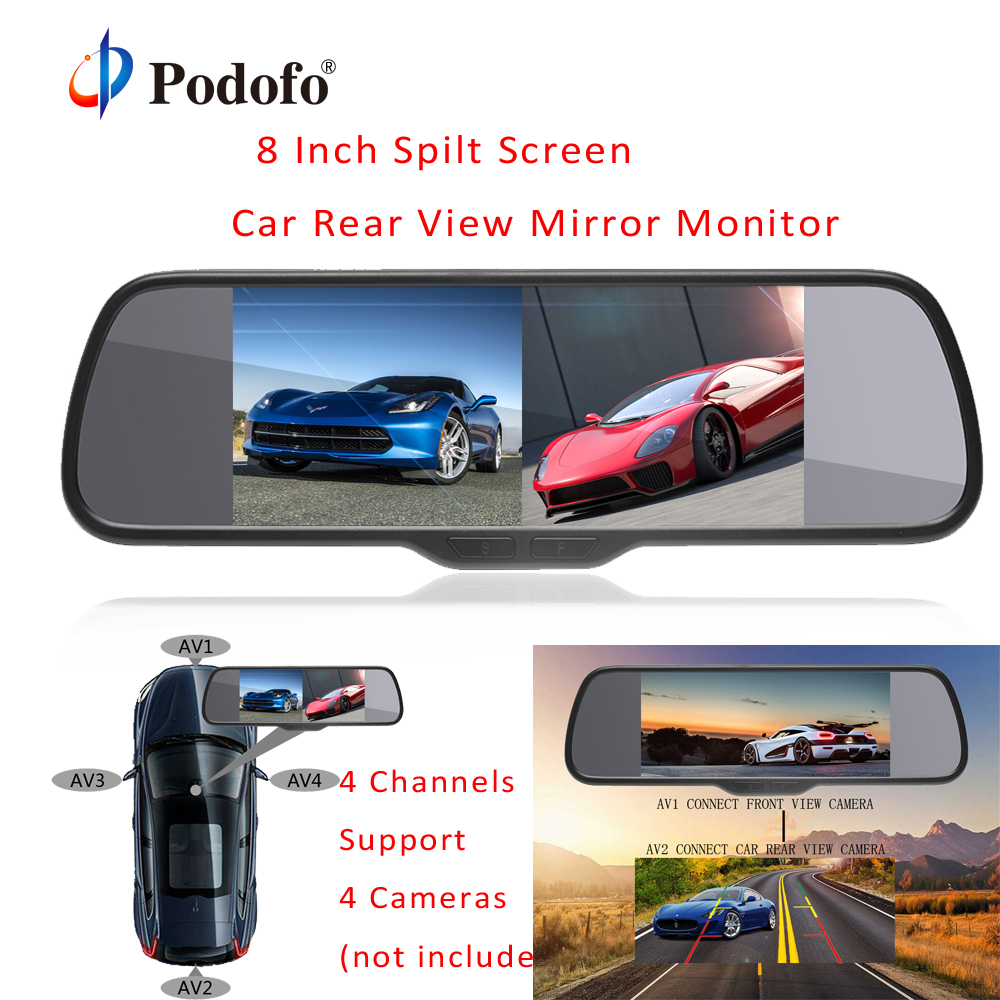 Podofo 8 Inch 4 Split Screen Car Monitor 4 Channels LCD Display Reversing Camera Rear view Monitor Parking System for Truck Bus