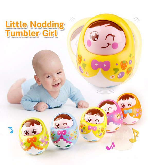 Minitudou Baby Toy 9CM Tumbler Doll Mobile Musical Rattles Toys For Babies Newborns Roly-poly 5122