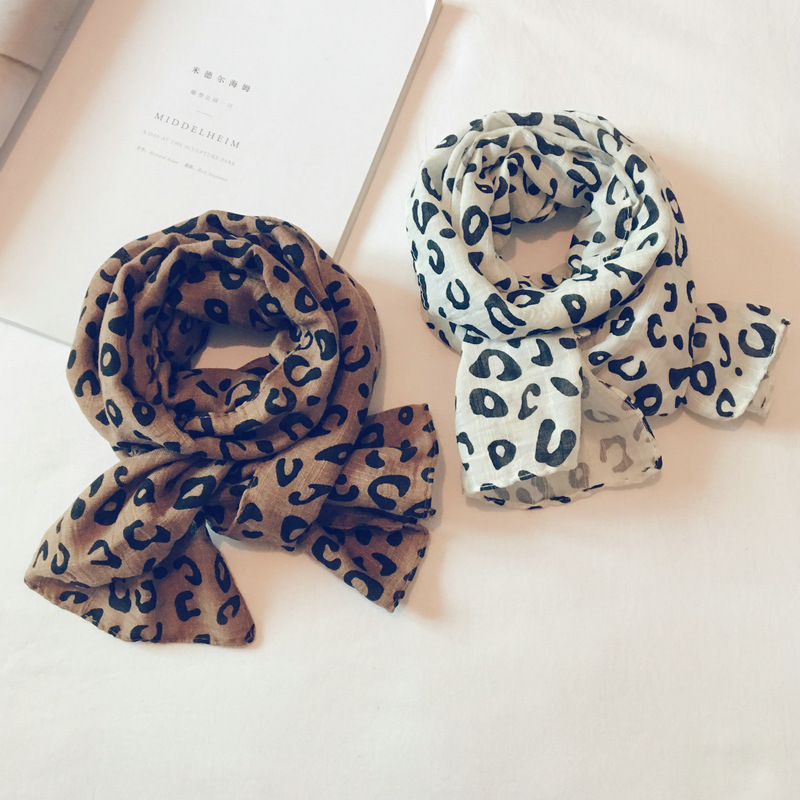 Girls Shawl Print Leopard Kids Children Scarves Warm Cotton Linen Accessories-Lhc Autumn
