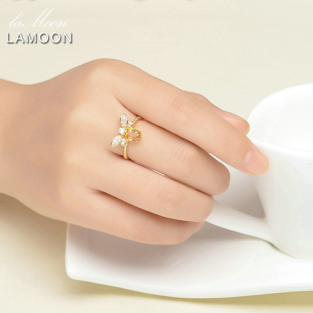 LAMOON Adjustable wedding Ring Natural Gemstone Oval Citrine with Bee S925 Sterling Silver Fine Jewelry For Women LMRI019