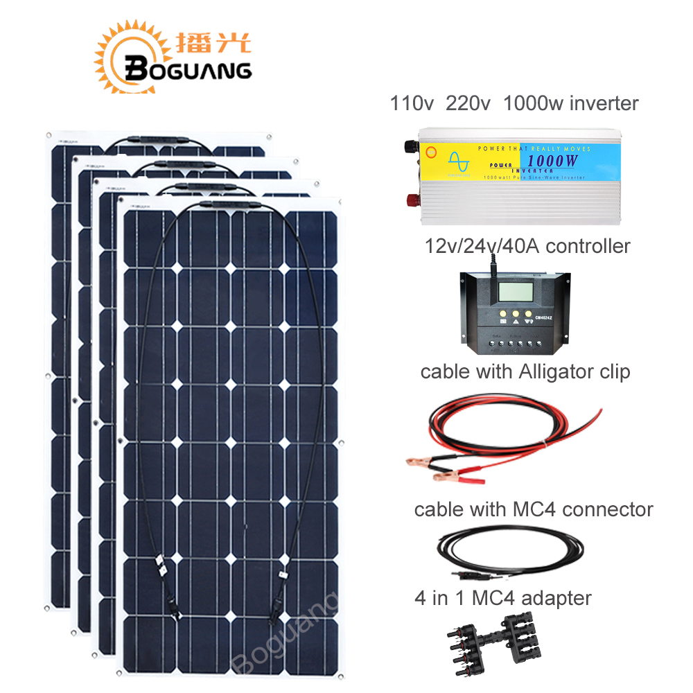 Boguang 400w solar DIY kit system 100w solar panel cell 110v 220v 1000w inverter 40A controller cable MC4 connector 12v battery h 001 solar battery cell component waterproof mc4 connector black 2 pcs