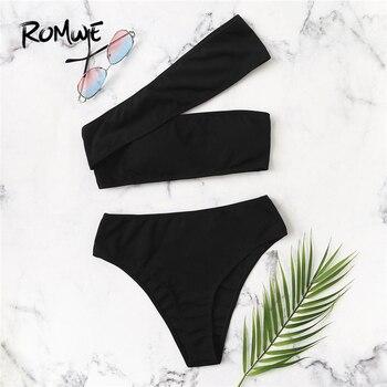 Romwe спортивный черный один плечо ребристый комплект с бикини; лето бикини без косточек и с высоким вырезом плавательный низ женские пляжные ...