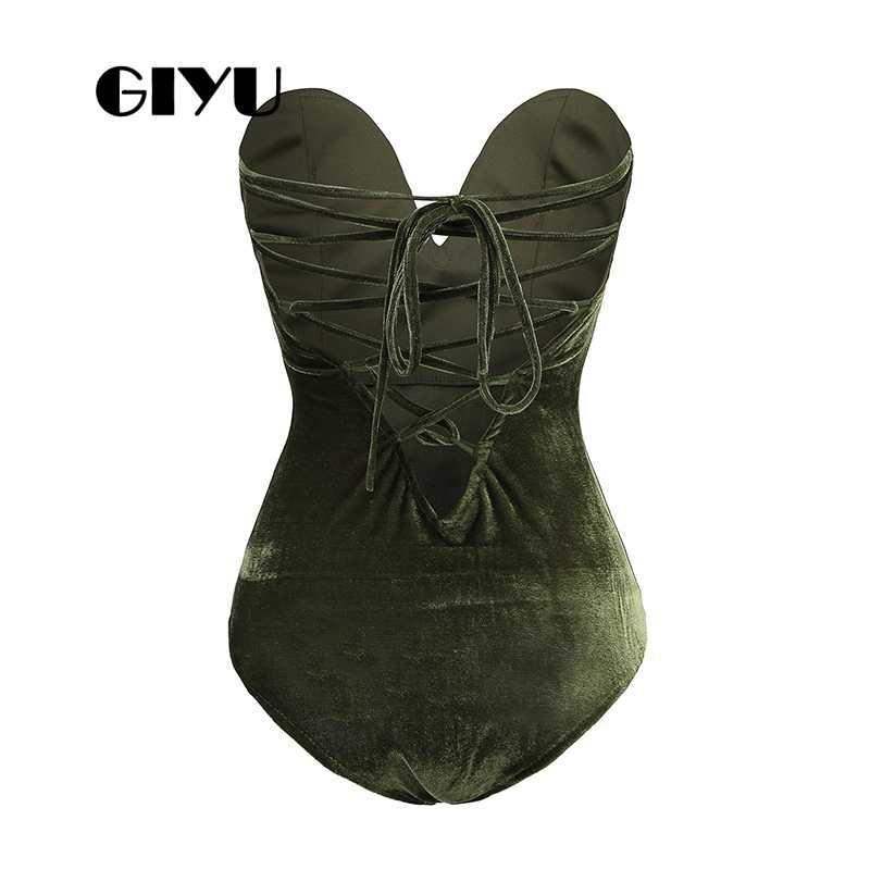 GIYU sólido encaje-Up terciopelo corto Bodysuits mujeres sin tirantes monos Skinny alta cintura Romper Slim combinaison femme