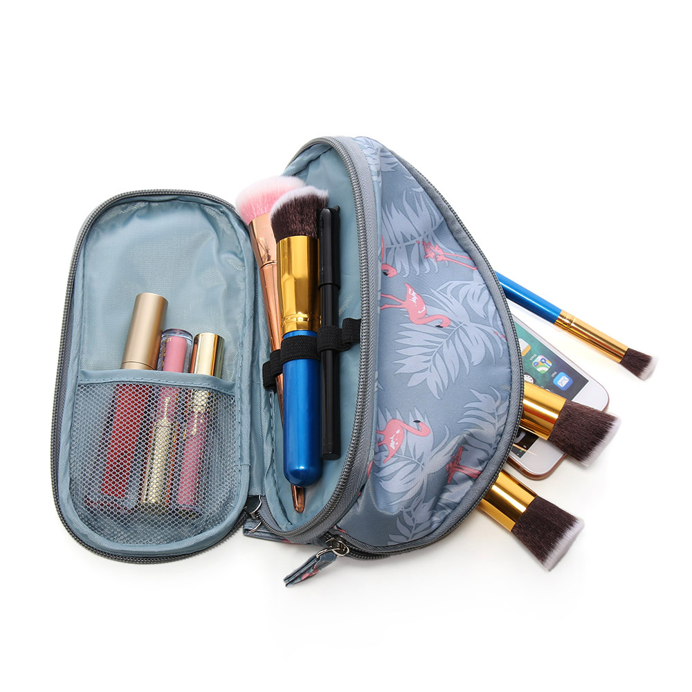Fashion Double Layer Women Travel Makeup Portable Flamingo Cosmetic Bag Pouch Bags Circular Brush Organizer Travel Pouch Handbag