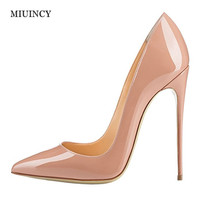 Brand Shoes Woman High Heels Women Pumps Stiletto Thin Heel Women S Nude Pointed Toe 12CM