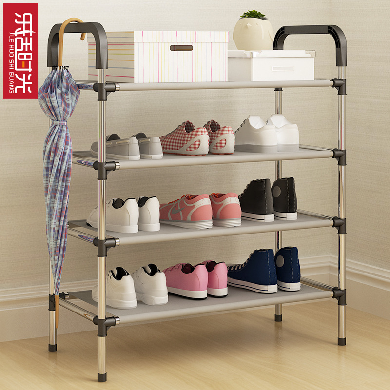 Simple Stainless Steel Assembly Shoe Rack DIY Creative Removable Door Shoes Organizer Space Saver Living Room Storage Furniture 1208s simple iron shoe rack multilayer living room removable storage finishing metal shelves