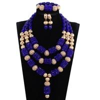 New Royal Blue Wedding African Beads Jewelry Set Crystal Beaded Pendant Necklace Set Blue Dubai Gold Bridal Jewellery Set PJW182