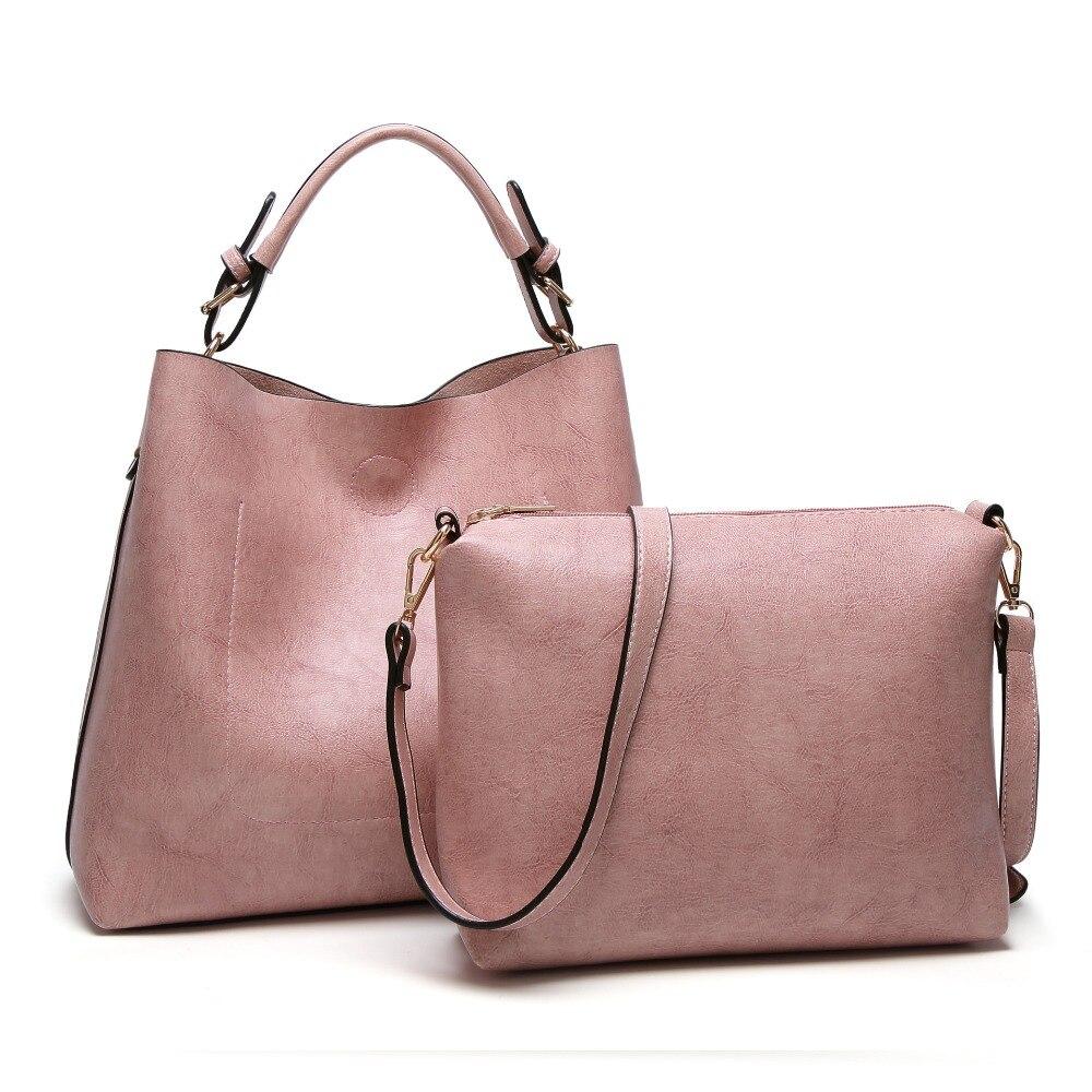 2Pcs/Set Large Size Women Oil Leather Tote Bag Female Shoulder Bag Purse Composite