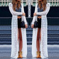 BOHO Women Ladies Summer Long Sleeve Beach Lace Cardigan Blouse Long Tops Dress