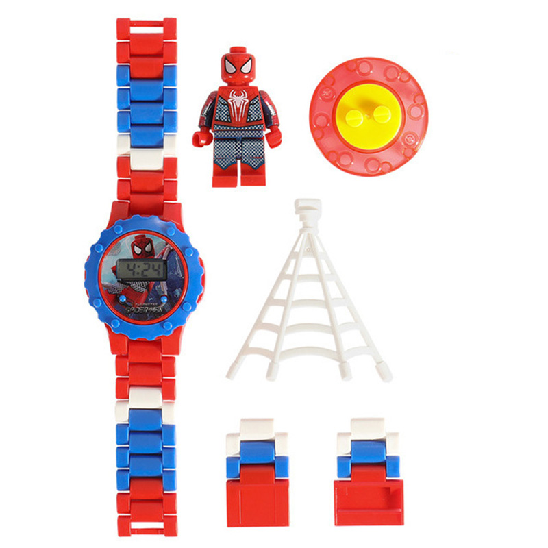 JOYROX Building Blocks Spiderman Elsa Kids Watches Rotate Dial Cartoon Children Watch For Boy Girls Student DIY Kids Clock Reloj