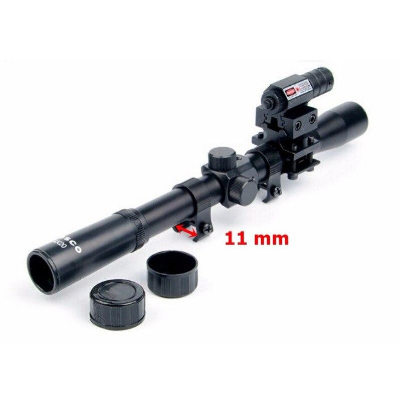 4x20 Air Gun Optics Scope Set Red Laser Sight Combo of 11mm Mount for 22 Caliber Riflescope Crossbow Scope Airsoft Guns optical instrument