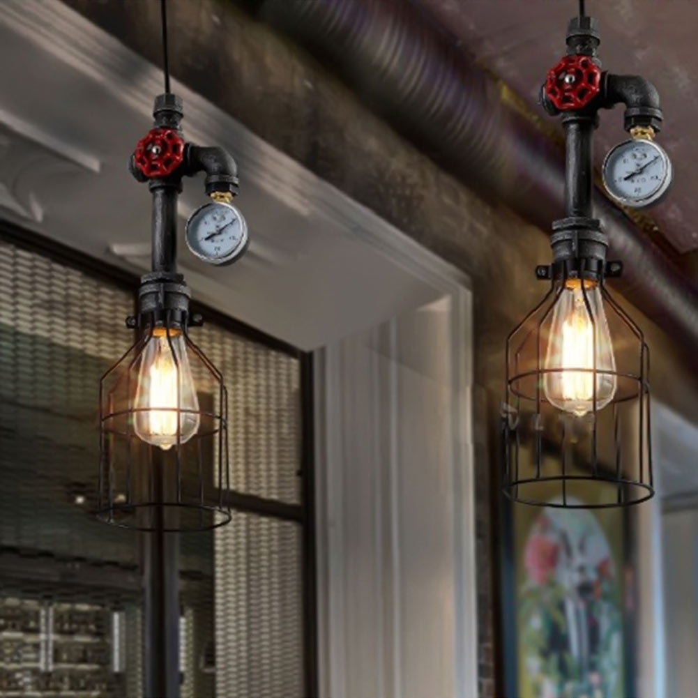 ФОТО Creative Retro Style Industrial Loft Chandelier Water Pipe Chandelier Lamp Bar Iron Restaurant Lights