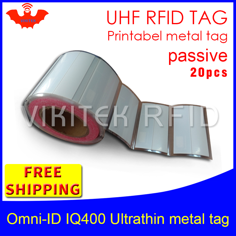 UHF RFID ultrathin metal tag omni-ID IQ400 915m 868m Impinj M4QT EPC 20pcs free shipping printable synthetic passive RFID labelUHF RFID ultrathin metal tag omni-ID IQ400 915m 868m Impinj M4QT EPC 20pcs free shipping printable synthetic passive RFID label
