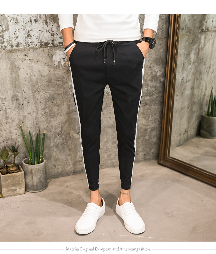 3b754830246a48 Fashion 2018 Summer Men Joggers Slim Fit Casual Harem Pants Side Stripe Hip  Hop Streetwear Trousers Men Clothes Black/White 34 package included:1xmen  pant