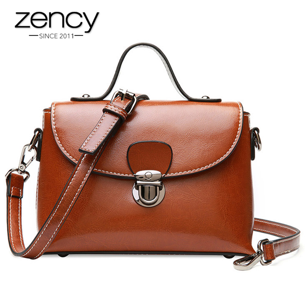Zency Vintage Women Tote Bag 100% Genuine Leather Top-Handle Handbag Fashion Brown Lady Crossbody Messenger Purse Shoulder Bags zency classic black women handbag 100% genuine leather casual tote bags fashion lady crossbody messenger purse shoulder bag grey