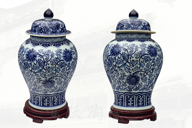 Blue And White Chinese Reproduction Ceramic Ginger Jars Antique
