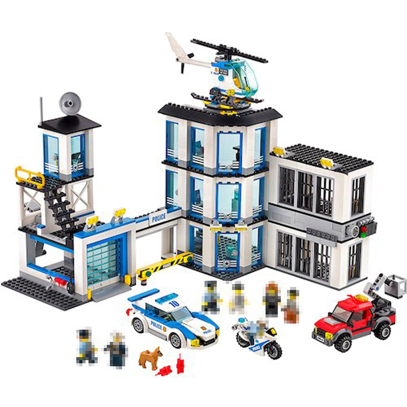 Lepin 02020 965Pcs City Series The New Police Station Set Building Blocks Bricks Model DIY Educational Toys For Children 60141 dhl lepin 02020 965pcs city series the new police station set model building set blocks bricks children toy gift clone 60141