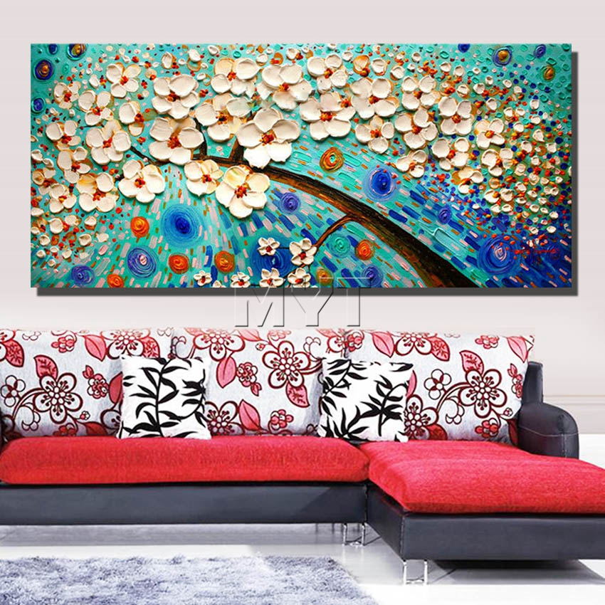 Flower art frames of living room wall oil painting on for Art for house decoration