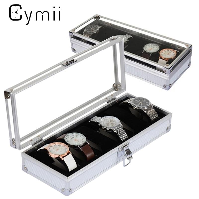 Cymii Watch Box Case 6 Grid Insert Slots Jewelry Watches Display Storage Box Case Aluminium Watch Box Jewelry Decoration Case карта памяти transflash 64гб microsdxc class 10 uhs i u3 90r 45w kingston canvas go