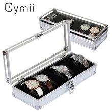 Cymii Montre Boîte Cas 6 Grille Insérer Slots Bijoux Montres Afficher Boîte De Rangement Case En Aluminium Boîte de Montre Bijoux Décoration Cas