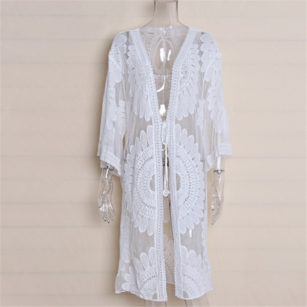 2018 Pareo Beach Cover Up Floral Embroidery Bikini Cover Up Swimwear Women Robe De Plage Beach Cardigan Bathing Suit Cover K634