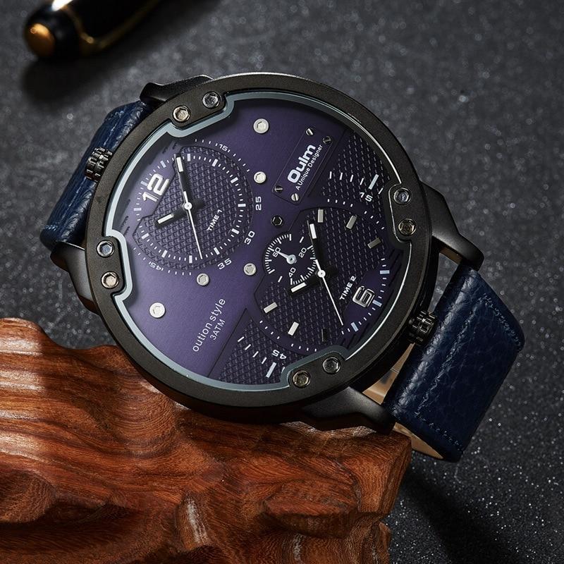 Oulm új érkezési dupla időzóna sport órák férfi luxus márka - Férfi órák