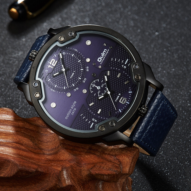 Oulm Nuovo Arriva doppio fuso orario Orologi sportivi Uomo Luxury - Orologi da uomo