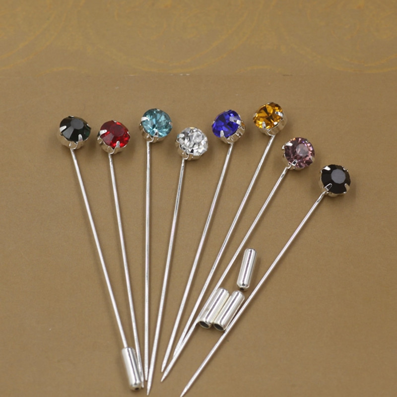 8pcs/lot lapel Pin 70mm Length womens Fashion Brooch Pins Rhinestone DIY Jewelry Making Supplies Safety Pins With Stopper Z666