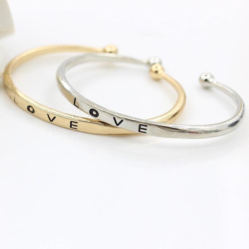 Us 137 45 Offrongqing Sederhana Cinta Bangles Gelang Terbuka Ukuran Surat Cinta Hadiah Ulang Tahun Ide Hadiah Untuk Pacar Atau Mum Pulseras In