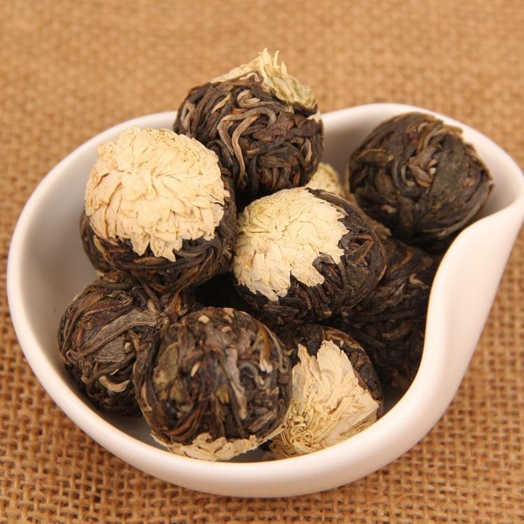 500g Raw Flower tea Yunnan puer tea herbal chrysanthemum tea handmade pu erh pearl old trees