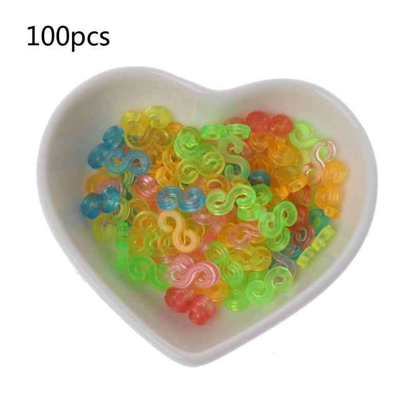 100 piezas niños mezcla colores C-Clips S-Clips de goma trenzada bandas DIY collares pulseras accesorios joyería hacer