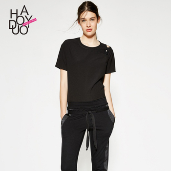 Haoduoyi summer western style fashion thin fabric loose solid hollow out short sleeve SML XL XXL black woman's Casual T-Shirt