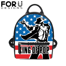 FORUDESIGNS King of POP MJ PU Leather Backpack for Women 3D Print Black School Bag Girls Travel Waterproof Daypack 2019 New