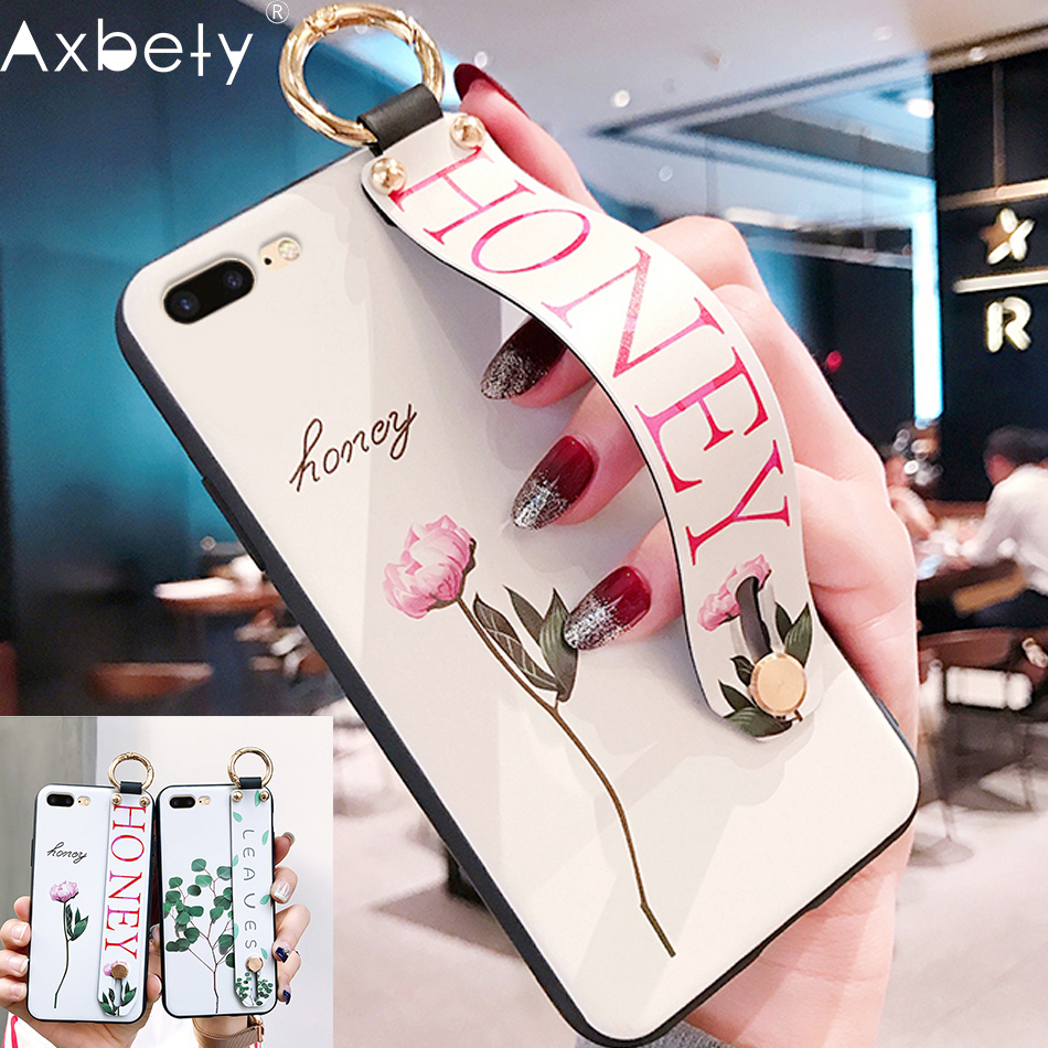 AXBETY For iphone XS MAX/XR/6s 6 7 8 Plus  Fashion Flower Lanyard Stand Phone Case For iphone 8 Stand Cover For iphone Xr coque(China)