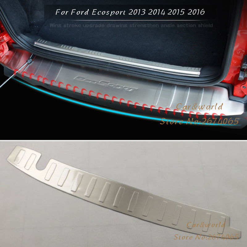 Car-Styling Accessories For Ford Ecosport 2013 2014 2015 Rear Bumper Protector Tail Trunk Door Sill Cover Trim Stainless Steel stainless steel stereo knob panel decorative stickers 1pcs for ford fiesta ecosport accessories