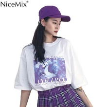 NiceMix Summer Casual Kawaii Cartoon T Shirt Women Harajuku Unicorn T-shirts O-neck Tumblr Tshirt Vetement Femme 2019