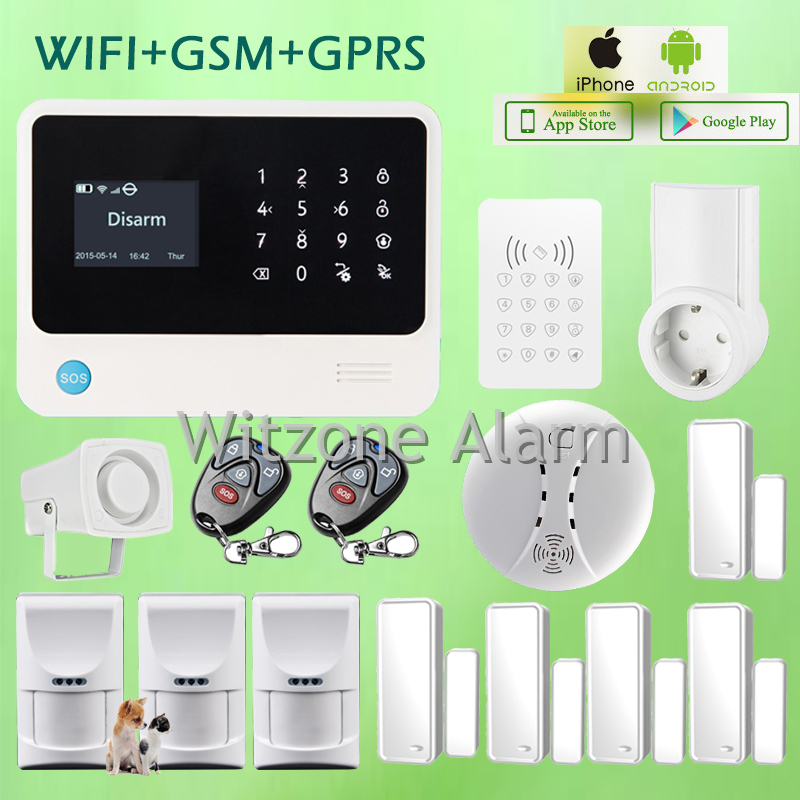 Hot Sale GS-G90B Wireless GPRS GSM WIFI Alarma Casa IOS Android APP controlled with Pet Immune PIR Sensor and Smart Power Socket джинсы мужские g star raw 604046 gs g star arc