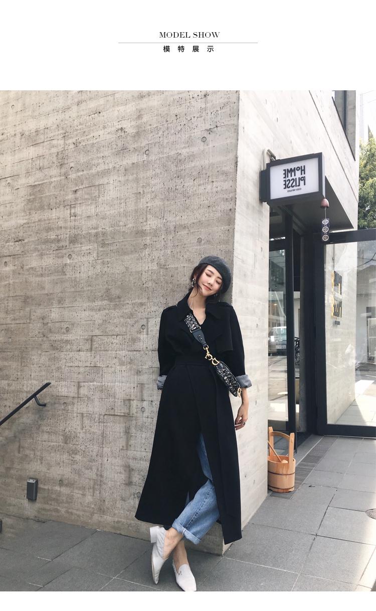 Spring Autumn Maxi Long Women's Loose Trench Coat With Belt Khaki & Black Plus Size Korean Style Windbreaker Outwear 5