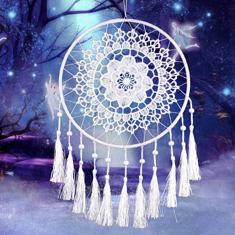 Car interior hanging - 20cm Hoop Lace Flower Dream Catcher Wall Hanging Home Car Interior Space Decoration Hanging Crafts